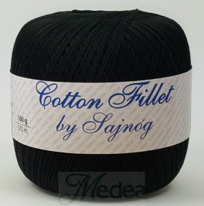 Kordonek COTTON Fillet -  czarny nr 99